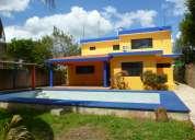 Casa amueblada de 3 habitaciones en renta en cholul zona norte, piscina, jardines, internet, cable