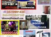 Templete, atril, tombola, microfonos, proyector, pantalla 3312647143