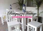 Renta vintage monterrey san nicolas guadalupe mesas y bancos altos de madera tipo bar periqueras
