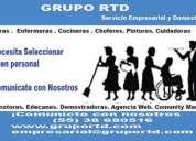 Grupo rtd te ofrece excelnte personal capacitado y confiable para las tareas de su casa  y ofcina