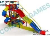 Juegos infantiles con resbaladilla doble de colores