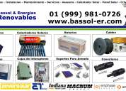 Paneles solares conectores inversores cables baterías calentadores solares.