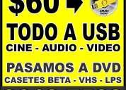 A usb - vhs beta hi8  lps los pasamos a dvd y usb  x $60