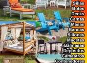 Muebles de plástico, decks de piso, bancas, sillas, sillones, camas, camastros, botes...