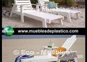 Muebles de plástico para hoteles, restaurantes, jardines, playas, albercas, etc...