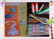 Pack 130 etiquetas Útiles escolares 3 tamaÑos