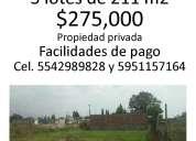 Se vende terrerno 211 metros cuadrados en tulantongo, texcoco. $275,000.°°