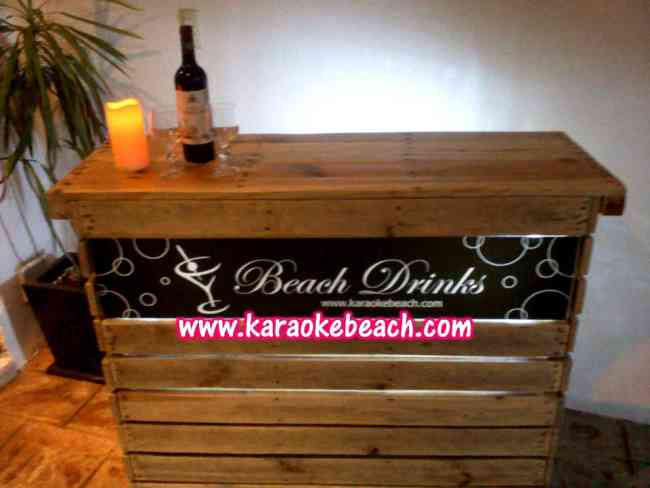 Renta drink station barra bar iluminada madera vintage - Barra bar madera ...