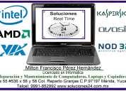 Reparacion de computadoras laptops, respaldo, servicio, etc