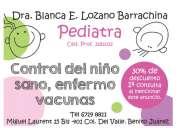 Pediatra, atención médica, control del niño sano, vacunas