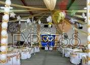Telas con luces y globos para todo tipo de evento
