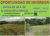 Excelente oportunidad de invertir en terrenos en zona de alta plusvalia y rapido crecimiento