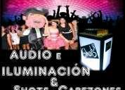 Audio e iluminación para fiestas + show de cabezones y carrito de shots