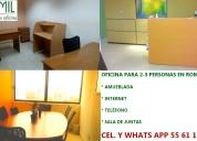 Rento oficina para para 2-3 personas, en roma norte