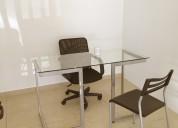 oficinas amuebladas para 2 p. con aire acondicionado en renta, centro