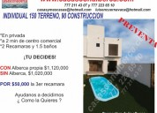 Venta de  pre venta,  casas con alberca,  individual, sur cuernavaca, morelos