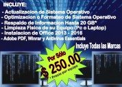 Reparación y mantenimiento a equipo de computo y móvil en todas las marcas