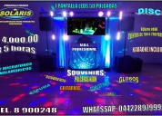 Luz y sonido *solaris*paquete # 2. c/ 1 pantalla  50' $4500 pesos