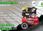 Kit para pintar compresor goni 3.5 hp 28 litros con manguera y pistola a gravedad 975
