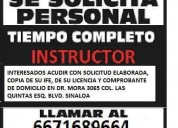 Se solicita instructor de manejo