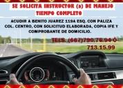 Se solicita instructor (a) de manejo