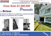 Casa sola en terreno  semi-residencial de 210mts. brisas sur cuernavaca, morelos