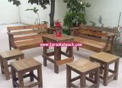 Renta vintage monterrey san nicolas mesas y bancos de madera