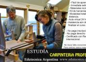 Curso de carpinteria con materiales y herramientas, modalidad a distancia.