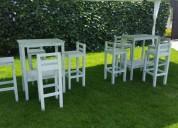 Renta de mesas y bancos periqueras para eventos