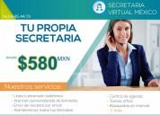 Secretaria virtual desde $580 pesos mens