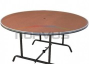 Venta de mesas redondas con cubierta de fibracel para fiestas eventos reforzada