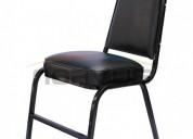 Venta de sillas apilables o fijas multiusos acojinada en color negro nuevas