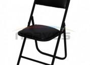 Venta de sillas plegables acojinadas banqueteras acabado en esmalte negro