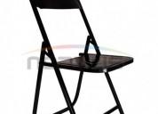 Venta de sillas plegables negras con asiento y respaldo de lamina modelo palenquera