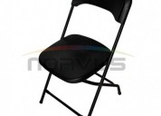 Venta de sillas plegables con asiento y respaldo de plástico color negro reforzada para alquiler