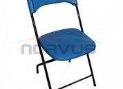 sillas plegables de plastico color azul para alquiler negocio hogar multiusos