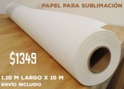 Papel de sublimación en rollo, 100 gramos.  1.10 m de ancho  x100 m. para ploters de sublimación.