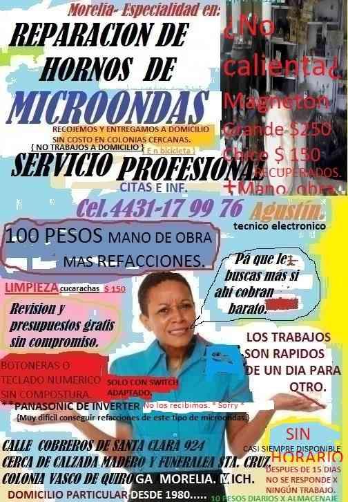 Morelia Reparacion de Hornos de Microondas Cel.4431-17-99-76