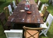 Renta de mesas de madera vintage en guadalajara