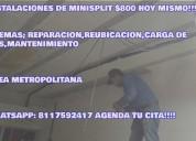 Instalacion,reparacion,mantenimiento,reubicacion,carga de gas de minisplit