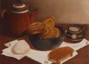cuadro al óleo bodegón de pan y chocolate pintado sobre loneta mallorca.