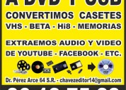 Vhs  - beta  - hi8 -  conversion a dvd y usb en gdl