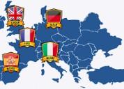Clases de inglés, francés, alemán e italiano.