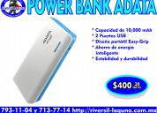 Power bank adata pt100 blanco con azul