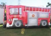 Renta de brincolin camioncito de bomberos en santa