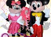 Payasos con mickey mouse y mimi para tu fiesta