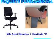 Silla semiejecutiva y escritorio en l