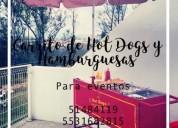 carrito de hamburguesas y hotdogs para eventos