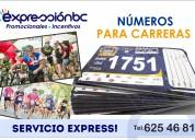 Números tyvek para carreras o maratones