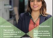 asesor comercial pago semanal